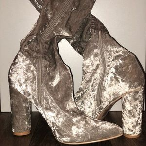 Nude crushed Velvet Stretchy Over the Knee Boot